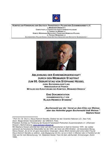 Stéphane Hessel. 95.Geburtstag. Ablehnung der Weimarer ...