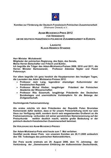 KHS Laudatio zur Verleihung des Adam-Mickiewicz-Preises 2012 ...