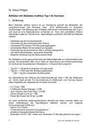 Athleten mit Diabetes mellitus Typ I im Ironman - Klaus-Poettgen