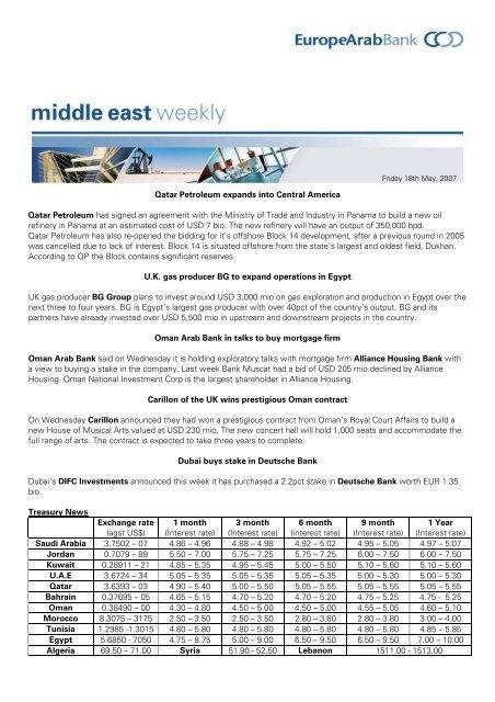 Qatar Petroleum expands into Central America     - Arab Bank Plc