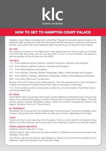 how to get to hampton court palace - KLC School of Design
