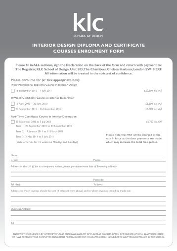 interior design diploma and certificate courses enrolment form