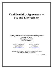 Confidentiality Agreements -- Use and Enforcement - Klehr Harrison ...