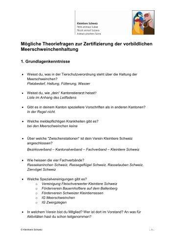 Theoriefragen Meerschweinchen - Kleintiere Schweiz