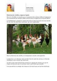 Détention des volailles, exigences légales Dès le 01.09.2008, la ...