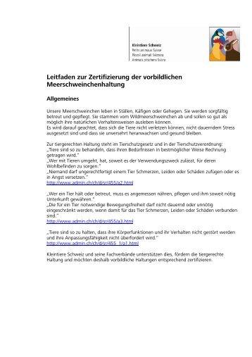 Meerschweinchen Leitfaden - Kleintiere Schweiz