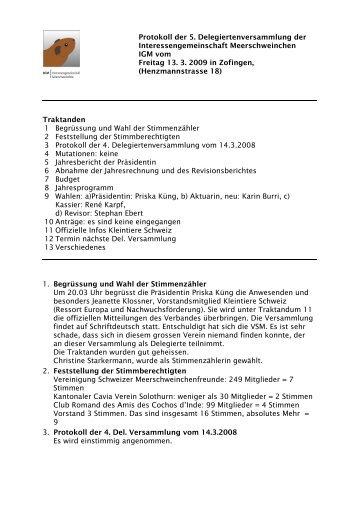 Protokoll 13.03.2009 - Kleintiere Schweiz