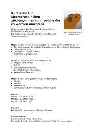 Kursreihe für Meerschweinchen - Kleintiere Schweiz