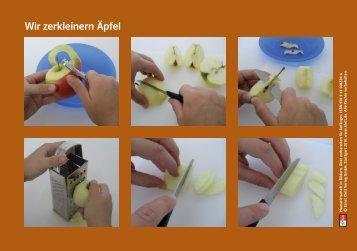 Wir zerkleinern Äpfel