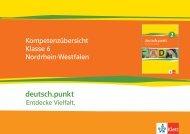 Kompetenzübersicht deutsch.punkt Klasse 6 NRW - Ernst Klett Verlag