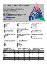 Umfrage zur IG-Klettern Niedersachsen - Klettern im Norden