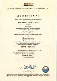 und Gesundheitsmanagement nach OHSAS 18001 - Kleusberg ...