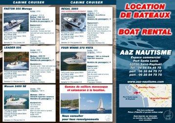 Retrouvez notre sélection de bateaux à louer - A A Z Nautisme