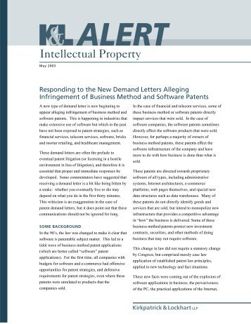 Responding To The New Demand Letters Alleging Infringement Of