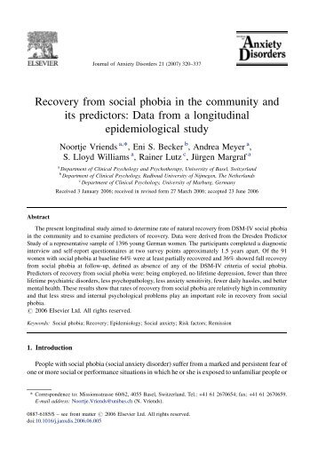 Recovery from social phobia in the community and its predictors ...