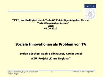 Soziale Innovationen als Problem von TA - Klima Regional