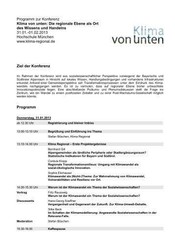 Programm Klima von unten 2013 - Klima Regional