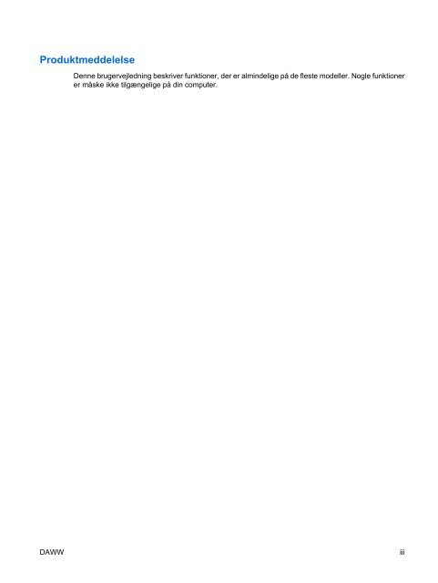 TouchPad og tastatur - Hewlett Packard
