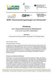 """MORO """"Raumentwicklungsstrategien zum ... - KlimaMORO"""