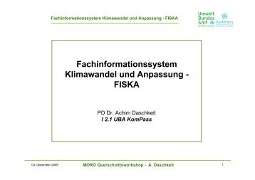 Fachinformationssystem Klimawandel und ... - KlimaMORO