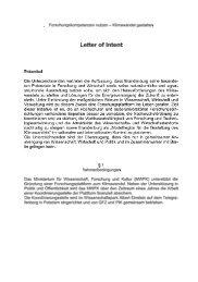 Letter of Intent - Forschungsplattform Klimawandel