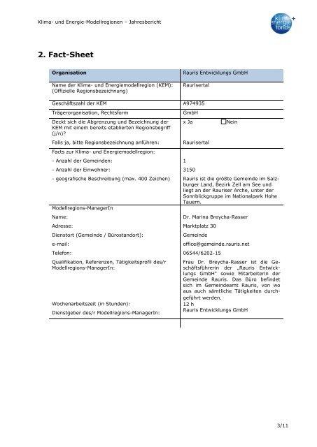 Einjahresbericht Umsetzungsphase - Übersichtskarte der Klima ...
