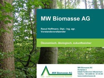 Raoul Hoffmann, MW Biomasse - Klima-Werkstatt
