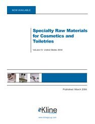 Specialty Raw Materials for Cosmetics and ... - Kline & Company