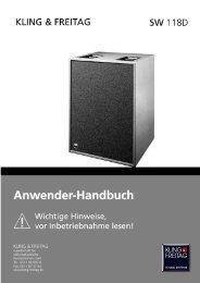 Anwender-Handbuch 1 Lautsprechersystem SW ... - Kling und Freitag