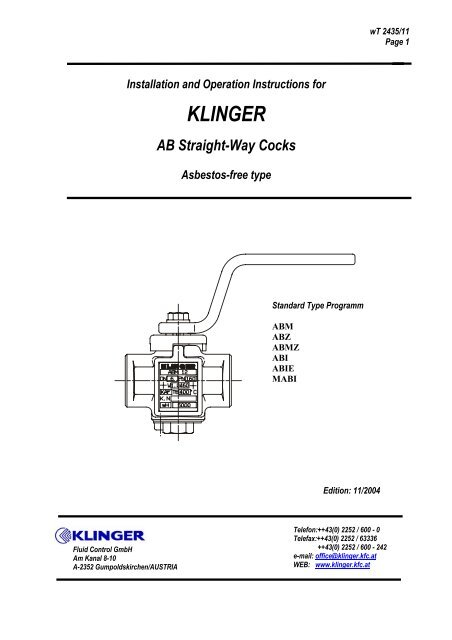 Installation and Operation Instructions for KLINGER AB