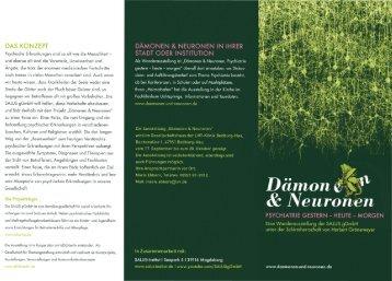 Informationsflyer zur Ausstellung Dämonen und Neuronen