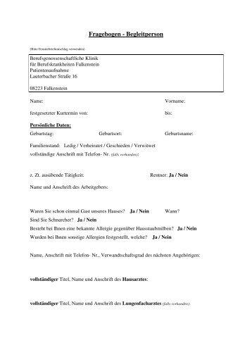 Fragebogen - Begleitperson - Berufsgenossenschaftliche Klinik ...