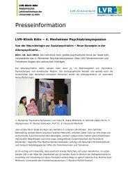 Pressemitteilung vom 18.06.2012 - LVR-Klinik Köln