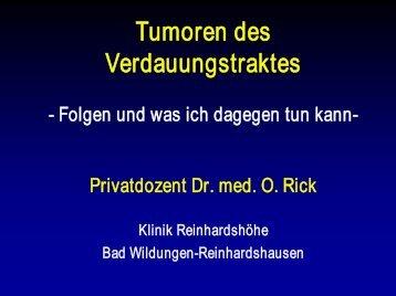 Tumoren des Verdauungstraktes - Klinik Reinhardshöhe