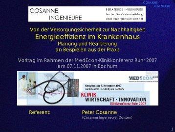 Energieeffizienz im Krankenhaus - KLINIKKONFERENZ RUHR 2011