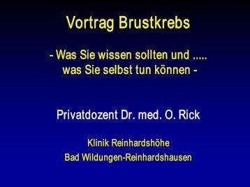 Vortrag Brustkrebs - Klinik Reinhardshöhe