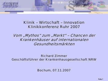 Download Präsentation - KLINIKKONFERENZ RUHR 2011