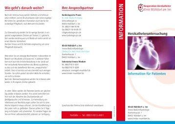 Flyer Herzkatheter - Kliniken Kreis Mühldorf am Inn