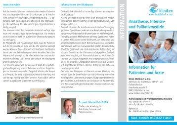 Info-Flyer Anästhesie-/Intensiv - Kliniken Kreis Mühldorf am Inn