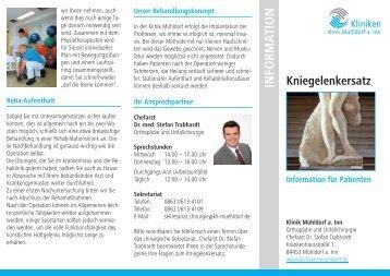 Info-Flyer Kniegelenkersatz - Kliniken Kreis Mühldorf am Inn