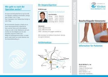 Info-Flyer Bauchschlagader - Kliniken Kreis Mühldorf am Inn