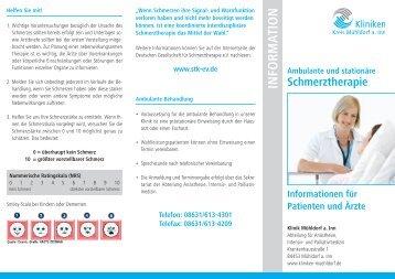 Info-Flyer Schmerztherapie - Kliniken Kreis Mühldorf am Inn