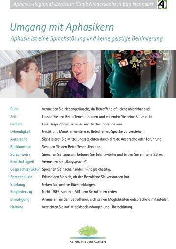 Hinweisen zum Umgang mit Aphasie - Klinik Niedersachsen