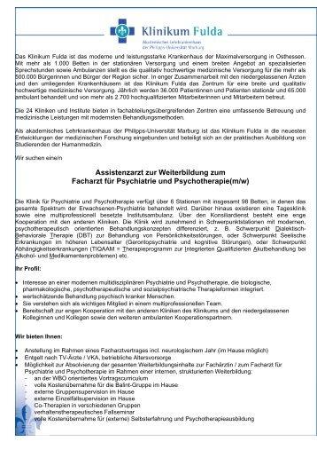 Assistenzarzt zur Weiterbildung zum Facharzt für ... - Klinikum Fulda