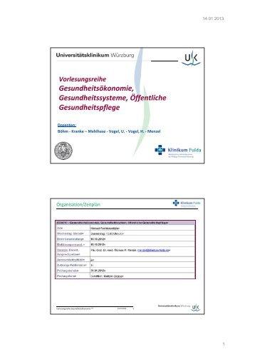 Einführung in die Vorlesungsreihe - Klinikum Fulda