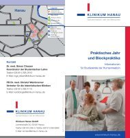 Flyer für Studenten - Klinikum Stadt Hanau