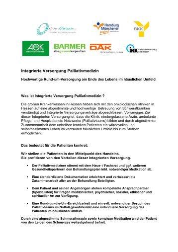 Integrierte konzepte von palliativmedizin und for Uni offenbach