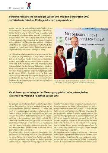 Verbund Pädiatrische Onkologie Weser-Ems mit dem Förderpreis ...