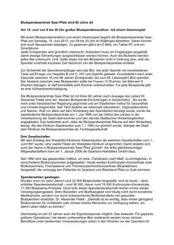 60 Jahre Blutspende.pdf - Klinikum Saarbrücken