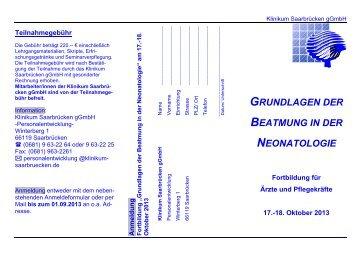 grundlagen der beatmung in der neonatologie - Klinikum Saarbrücken